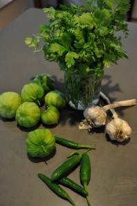 Ingredients for our renowned Roasted Tomatillo Salsa (Just add onions and NaCl)