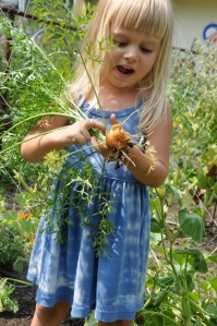 """Maya taking her turn for the """"Kids with Carrots"""" series."""