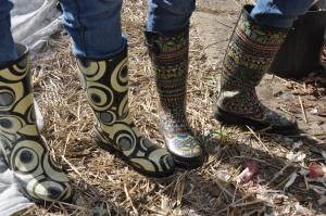 Not your granny's work boots. Elizabeth (left), Katie (right)